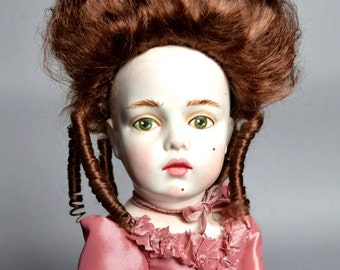 Rococo style doll by D.Vistavna using Bru Jne mold, beautiful hair, court dress