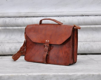 Stunning Handmade Leather Briefcase, Simple All Leather Briefcase, Minimalist Leather Briefcase, Handmade Genuine Leather Briefcase