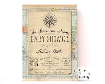 Adventure Baby Shower Invitation Around the World Baby Shower Invite Vintage Travel Baby Shower Invitation  Printable No.1269BABY