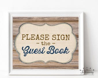"""Rustic Baby Shower Guest Book Sign Guestbook Sign 8x10"""" Brown Wood Farm Boy Baby Shower Decor Printable // INSTANT DOWNLOAD No.709NAVY"""