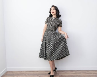 Vintage late 40s Lanz Original Hearts and Angels Novelty Print Dress