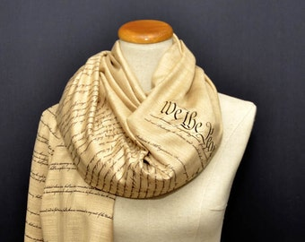 US Constitution and Bill of Rights scarf/ shawl.