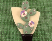 CACTUS  BROOCH, with Iridescent Pink Flowers.