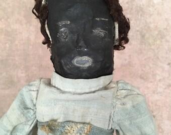 vintage handmade folk art doll, black doll, cloth doll, rag doll, primitive fabric doll