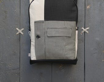 Large backpack for men with many pockets, upcycled rucksack using men's suit, stylish backpack for work