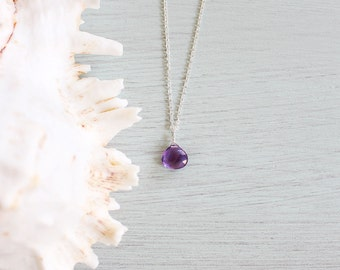 Tiny Amethyst Necklace - Small Amethyst Faceted Teardrop Necklace - Genuine Purple Amethyst Crystal Necklace - February Birthstone Necklace