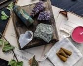 CRYSTAL Kit. Crystal Grid. Crystal Set. Crystal Bundle. Labradorite Point. Quartz. Pyrite. Amethyst. Druzy. Talisman. Obelisk.