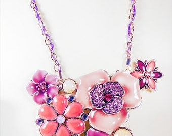 VINTAGE FLORAL NECKLACE, mauve floral necklace, coral floral necklace, magnetic clasp, silver chain with violet satin ribbon, crystal - 1732