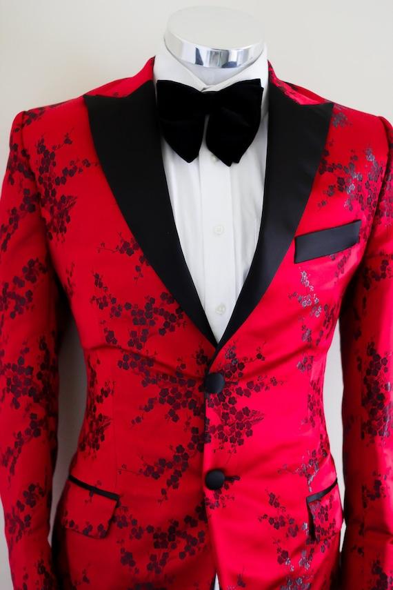 Icon Mens Red & Black Printed Tuxedo Blazer wedding