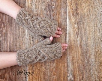 Knitted fingerless gloves, knitted mittens, arm warmers, handknit beige gloves, cable knit gloves, wool hygge gloves, fingerless mittens