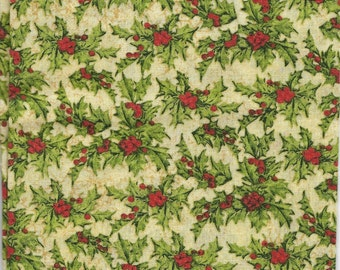 New Christmas Emporium Holly Leaves and Berries 100% cotton fabric by the Fat Quarter