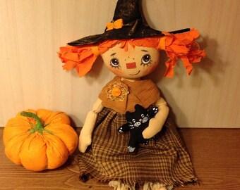Halloween witch doll fantasy doll housewarming doll fabric doll rag folk doll witch primitive doll cloth doll whimsical doll whimsical doll