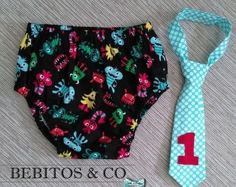 Monsters 1st Birthday, Boys Monsters Cake Smash Outfit, Monsters Diaper Cover and Necktie Set, Monsters Outfit, Monsters Photo Prop Outfit