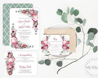 Printable Wedding Invitation | Pretty Protea Burgundy Watercolor Floral | Floral Wedding Invite | Floral Bohemian Printable Invitation