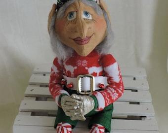 Cloth Art Doll, OOAK, Elf