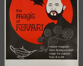 1960s The Magic Of Kovari George Kovari Genuine Magic Show Poster Illusionist 17.5 x 25.5