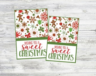 Wishing You A SWEET Christmas! Christmas Gift Tags for Sweet Treats! Perfect to Pair w/ Goodies for Neighbor Gifts Instant Digital Download