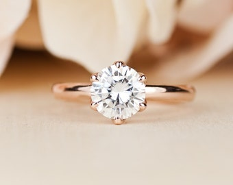 Moissanite Engagement Ring, unique, rose gold, Solitaire, Forever One, Conflict Free Engagement Rings, lotus ring, simple, nature inspired