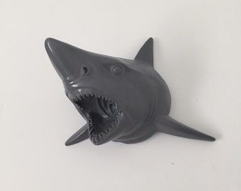 ANY COLOR Shark Head Wall Mount // Faux Taxidermy // Great White // Nautical Decor // Grey Animal Head // Shark Week // Trophy Mount // Jaws