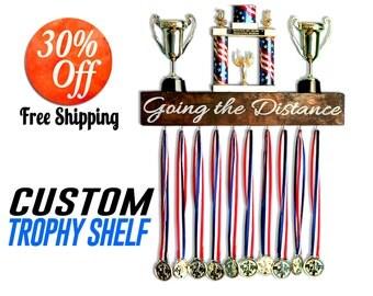 Athletic Award Shelf.Display Shelf.Medal Rack.Display Shelf.Running Display Rack.Medal Holder.Ribbon Holder.award display (Trophy Shelf)