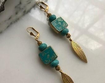 Turquoise Feather Charm Dangle Earrings