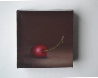 Acrylic 4x4' red cherry painting, small still life painting, tiny kitchen painting, food painting, fruit artwork, cherries, miniature art