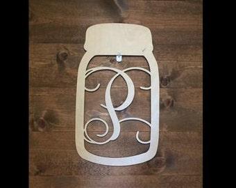 """12"""" Wood Mason Jar Shape Monogram Initial Unfinished"""