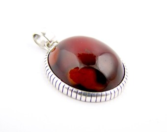 Sterling Silver Blood Red Carnelian Pendant by TK