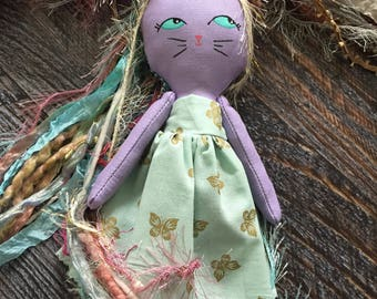 Unikitty, handmade doll, unicorn doll, cat doll, cloth doll, heirloom doll, keepsake doll, kitty doll, rag doll, collectable doll