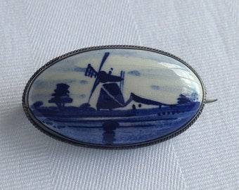 Vintage Delft Windmill Brooch Pin with C Clasp Delft Jewelry Delft Blue