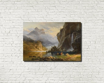 Albert Bierstadt, Old Masters Fine Art Print : Indians Spear Fishing, American Classical Art Iconic Landscape
