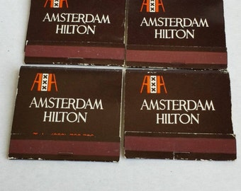 Lot of Four Vintage 1970s Amsterdam Hilton Matchbooks
