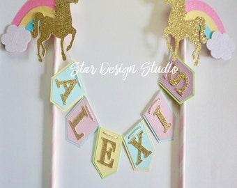 "Unicorn Cake topper ""One""  Pastels and Gold  Rainbow Cake Topper Birthday bunting- Glitter Gold, Any age and name available"