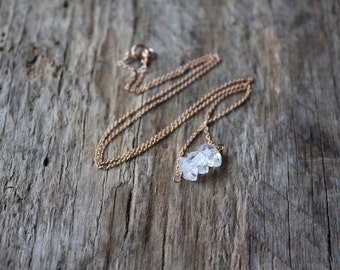 Herkimer Diamond Trio Necklace -Rose Gold