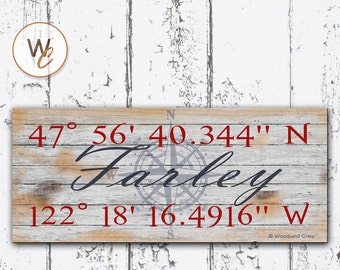 """Latitude Longitude Sign, Personalized 6""""x14"""" Rustic Sign, GPS Coordinates, Home Location, Housewarming Gift, Family Nautical Sign, STY3"""