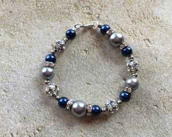 Gray and Blue Faux Pearl Bracelet, Bracelet, Beaded Bracelet, Beadwork Bracelet, Gift For Her