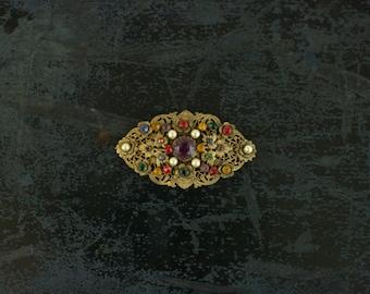 Vintage Art Nouveau Filigree Sash Pin
