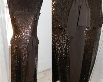 Escada Silk Sequined Designer Skirt Set/ Brown Sequined Skirt Set/ Silk Escada Skirt Suit Dress Size S/M
