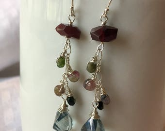 Garnet, Tourmaline and Mystic Quartz Earrings set on Sterling Silver