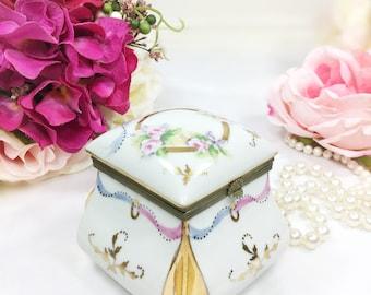 Vintage Floral Porcelain Trinket Box, Jewlery Box, Vanity Box, Gold Dresser Box #A655