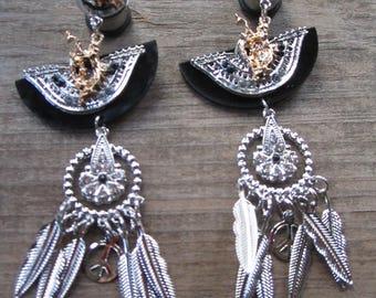"""Modern Day Dream Warrior EAR PLUGS dangle Peace, Dreamcatcher silver gold earrings gauge 2g, 0g, 00g, 7/16"""", 1/2"""" aka 6mm, 8mm, 10mm, 12mm"""
