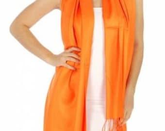 Orange Pashmina - Orange scarf - Orange cover ups - Orange wedding pashmina - Orange bridal favors - Orange wedding favors - Orange shawls
