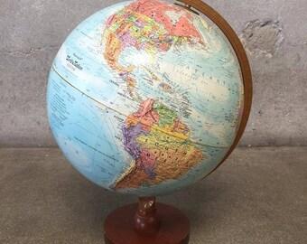 Vintage Replogle Globe with Teak Stand (G2BJE9)