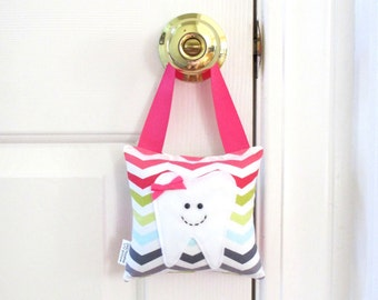 Girls Tooth Fairy Pillow - Personalized Tooth Fairy Pillow - Chevron