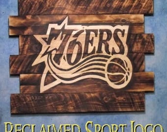 Philadelphia 76ers, FREE UV protector, 30X23, Burnt wall hanging, Shou Sugi Ban, Charred wood, Sports sign, Rustic, Wood Sports sign