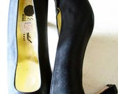 Black Satin Deadstock Womens Shoes - Vintage - Pumps -  Leather - Italian - Size 39 Euro - 9 US - Lady Continental - Gala - Classic - New