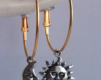 Gold Sun And Moon Earrings , Silver And Gold Earrings , 34mm Hoops , Celestial Earrings , Gold Hoops , Two Tone , Sun Earrings , Statement