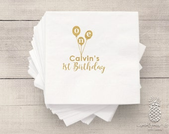 1st Birthday Party Napkins | Personalized Napkin | Party Balloons Napkins