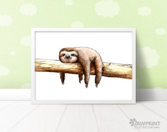Sloth Nursery Art Print – Sloth gift for new baby - baby shower gift - Sloth nursery animals - neutral nursery prints - Sloth Art
