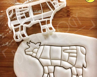 Cow cookie cutter | Butcher's guide to beef cuts | other meat chart available | Bakerlogy